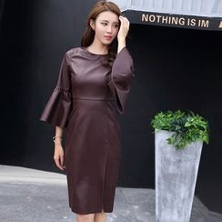 Eleganza - Bell-Sleeve Faux Leather Sheath Dress