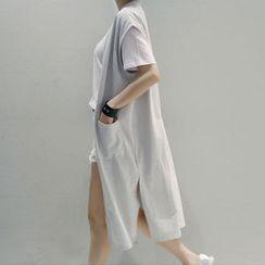 NANING9 - Open-Front Long Vest