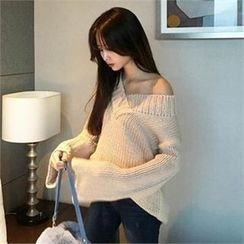 QNIGIRLS - V-Neck Wide-Sleeve Sweater