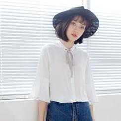 Forest Girl - 风琴褶袖领结带雪纺衬衫