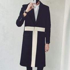 Bay Go Mall - Two Tone Single Button Coat