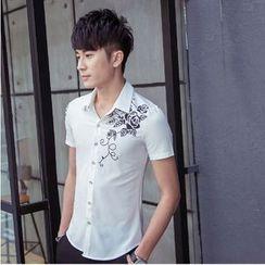 Mija - Short-Sleeve Flower Print Shirt