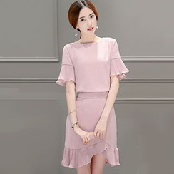 Romantica - Set: Short-Sleeve Paneled Top + Paneled Pencil-Cut Skirt