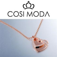 COSI MODA - Steel Necklace with Cubic Zirconia in Rose Gold Color Plating