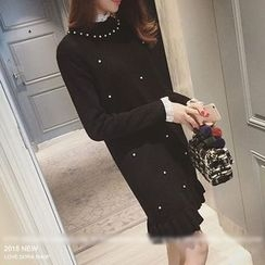 QZ Lady - Long-Sleeve Mock Two Piece Knit Dress