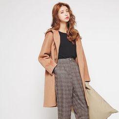 Hanme - Hooded Loose-Fit Tweed Coat