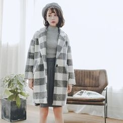Hanme - One-Button Plaid Tweed Coat
