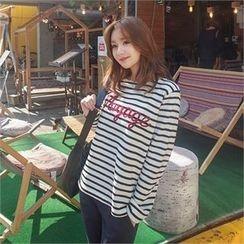 Styleberry - Lettering Stripe T-Shirt