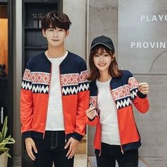 CASSY - Printed Zip Couple Matching Jacket