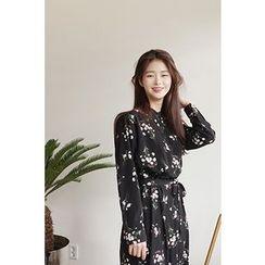CHERRYKOKO - Floral Chiffon Long Shirtdress with Sash