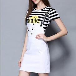 Rosesong - Set: Short-Sleeve Striped T-Shirt + Jumper Skirt