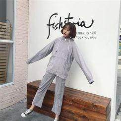 Cattie - 套装: 灯芯绒连帽衫 + 八分宽腿裤