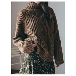 Chlo.D.Manon - Turtle-Neck Wool Blend Cable-Knit Sweater
