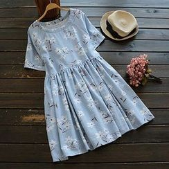 YOYO - Short-Sleeve Floral Dress