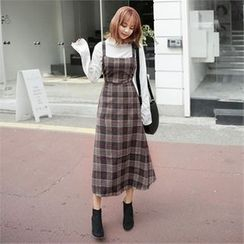 ZIZIBEZIRONG - Wool Blend Plaid Long Jumper Dress