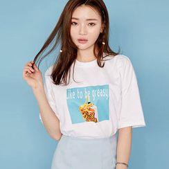 chuu - 圓領印花 T 恤