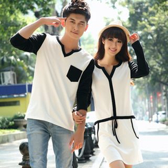 NoonSun - Couple Matching Contrast Trim Long Sleeve T-Shirt / Long Sleeve Dress