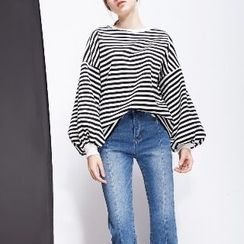Halona - Long-Sleeve Striped Loose-Fit Top