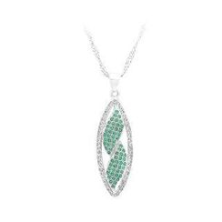 BELEC - 925 Sterling Silver Leaf Pendant with White and Green Cubic Zircon and Necklace