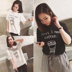 Whitney's Shop - 'First I Need Coffee' Print T-Shirt