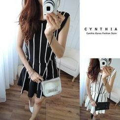 CYNTHIA - Set: Sleeveless Striped Knit Top + A-Line Skirt