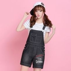 Meadowy - Letter Short Denim Dungaree