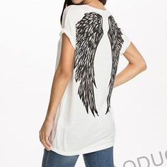 Obel - Wing Print Short-Sleeved T-Shirt