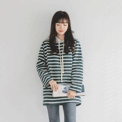 JUSTONE - Hooded Striped Brushed-Fleece Lined Top