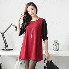 Hanee - Elbow-Sleeved Chiffon Tunic