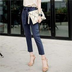 CHICLINE - Ribbon-Waist Linen Pants