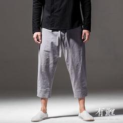 Ashen - Drawstring Linen Cropped Pants