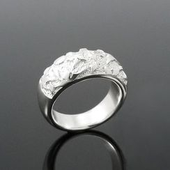 Sterlingworth - Moon and Flower Sterling Silver Ring