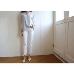 Hello sweety - Fray-Hem Straight-Cut Pants