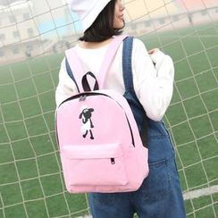 Seok - Sheep Print Nylon Backpack
