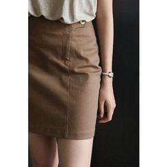 CHERRYKOKO - Button-Detail Pencil Skirt