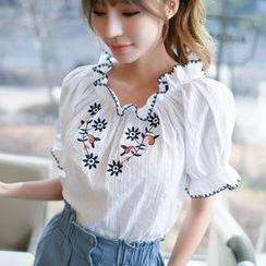Dowisi - Frill Trim Embroidered Off-shoulder Top