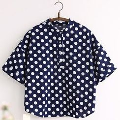 11.STREET - Dotted Elbow-Sleeve Blouse
