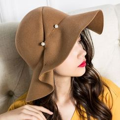 BADA - 褶皱半叠边毛呢帽