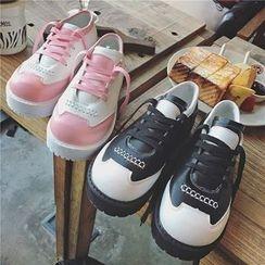 Hipsole - Faux-Leather Color-Block Oxford Shoes