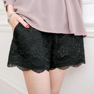 Tokyo Fashion - Crochet-Overlay Scalloped-Hem Shorts