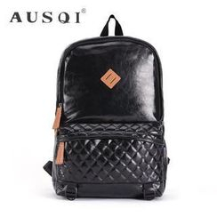 Ausqi - Faux-Leather Argyle Backpack