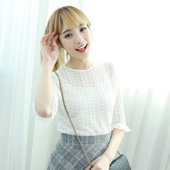 Dodostyle - 3/4-Sleeve Lace Blouse