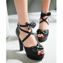 Freesia - Bow Ankle Strap High Heel Platform Sandals