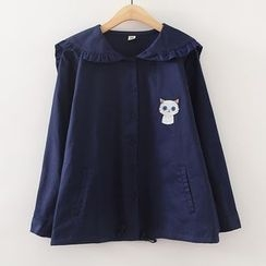 ninna nanna - Embroidered Cat Sailor Collar Jacket