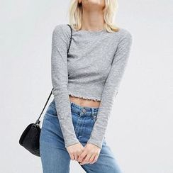 Richcoco - Cropped Long Sleeve Top