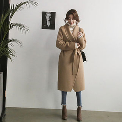 NANING9 - Shawl-Collar Wool Blend Coat with Sash