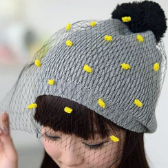 59 Seconds - Pompom Accent Mesh Overlay Beanie