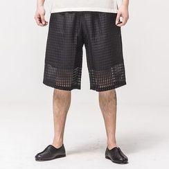 Ashen - Mesh-Overlay Shorts