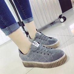 Sofree - Stitch Detailed Platform Lace Up Sneakers