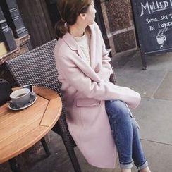 mimi&didi - Notched-Lapel Wool Blend Handmade Coat